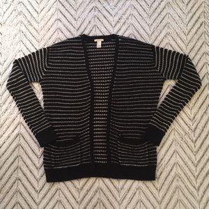 Loose Open Front Striped Cardigan w/ Pockets